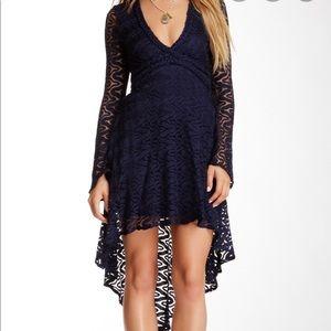 Sky Crochet Lace Hi Low Dress